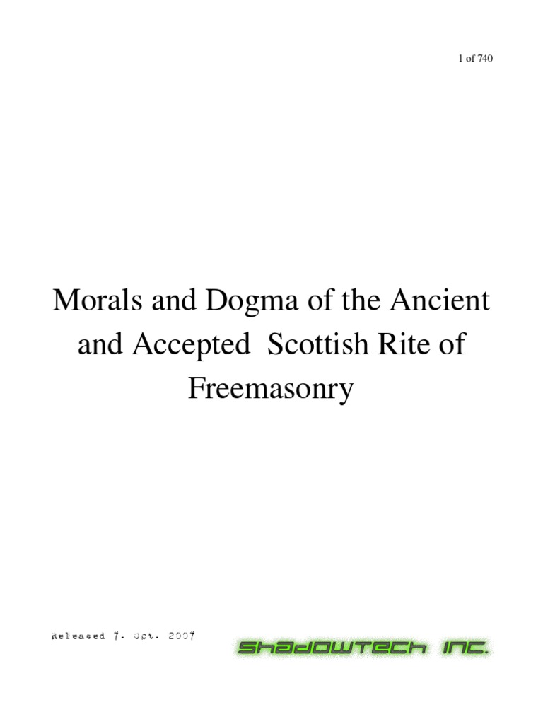 occult morals and dogma of the ancient and accepted scottish