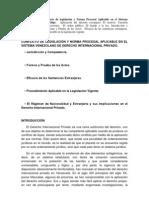 63429116 Conflicto de Legislacion y Norma Procesal Aplicable en El Sistema Venezolano de Derecho Internacional Privado