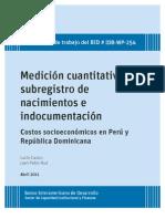 BID Medición cuantitativa del SUBREGISTRO DE NACIMIENTOS
