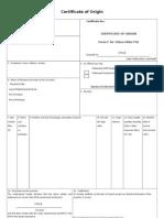 Formulario Certificado de Origen