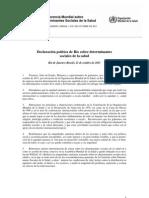 Declaración política de Río sobre determinantes sociales dela salud -Octubre 2011