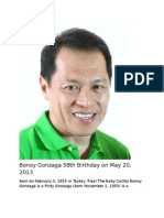Bonoy Gonzaga 58th Birthday