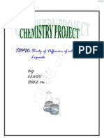 Chemistry Project on Study of Diffusion of Solids in Liquids