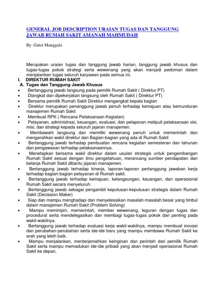 General Job Description Uraian Tugas Dan Tanggung Jawab