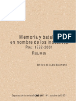 Memorias y Batallas en Nombre de Los Inocentes - 1992-2001