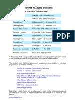 NTU Academic Calendar 2013 - 2014
