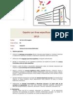 Español con Fines Específicos, UIMP, Cursos de Verano. Santander, 2013