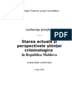 Starea Actuala Si Perspectivele Stiintei Criminologice in Republica Moldova