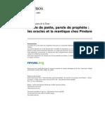Kernos 1006 3 Parole de Poete Parole de Prophete Les Oracles Et La Mantique Chez Pindare