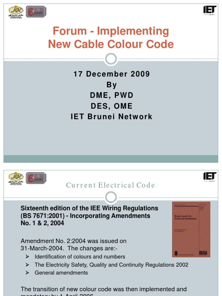 Forum On New Colour Code 17 Dec 2009 Electrical Wiring Cable Iee Regs