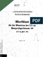 H.Dv.481-77 Merkblatt für die Munition der 7,5 cm Panzerjägerkanone 40 - 06.07.1942