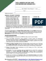 Ficha inscripción  Escuela Abierta 2013