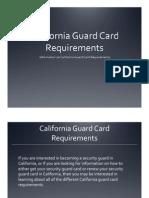 California Guard Card Requirements