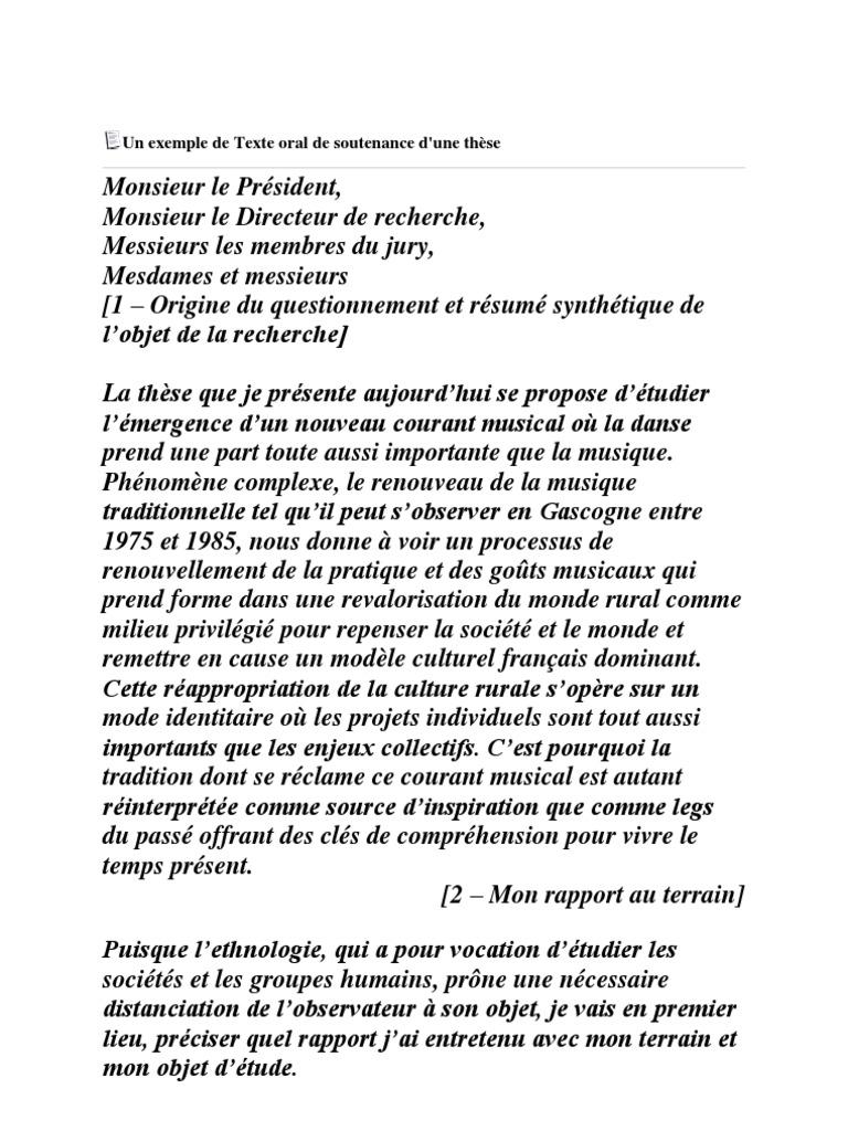 Un Exemple de Texte Oral de Soutenance d | Identité ...
