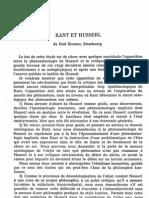 RICOEUR, Paul - Kant Et Husserl