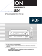 Denon AVR3801 Owners Manual