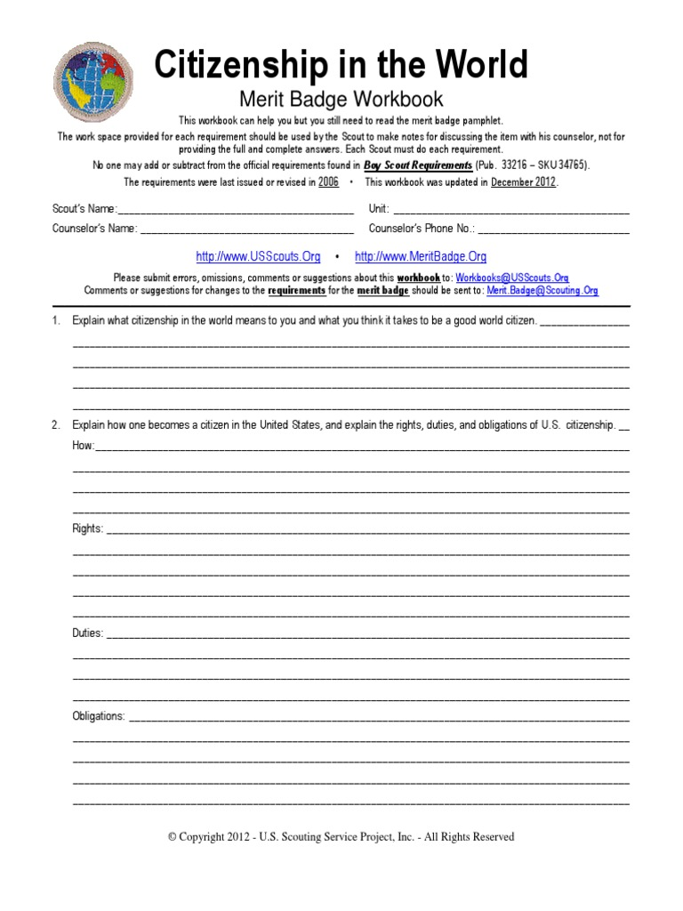 Citizenship in the World Merit Badge worksheet – Family Life Merit Badge Worksheet