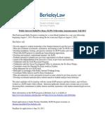 UC Berkeley Law (Boalt Hall) SLPS Public Interest Skills-Pro Bono Fellowship, Fall 2013