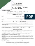 2009 Sports Camp Registration Form