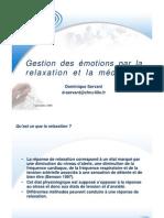 Gestion des émotions par la relaxation et la méditation