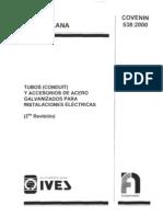 COVENIN 538-00 Tubos conduit y accesorios de acero galvanizados para instalaciones eléctricas