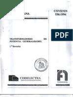 COVENIN 536-94 Transformadores de Potencia