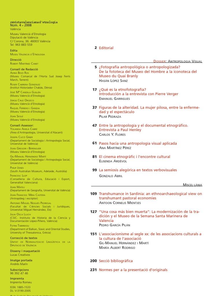 Flores Carlos-Entre La Antropologia y El Documental Revista Valenciana de  Etnologia 4 Completa af9cf9cc36a