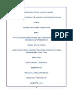 La Influencia de La Administracion de Operaciones en El Rendimiento de La Pyme
