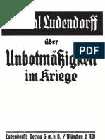 Ludendorff, Erich - Ueber Unbotmaessigkeit Im Kriege (1935, 44 S., Scan-Text, Fraktur)