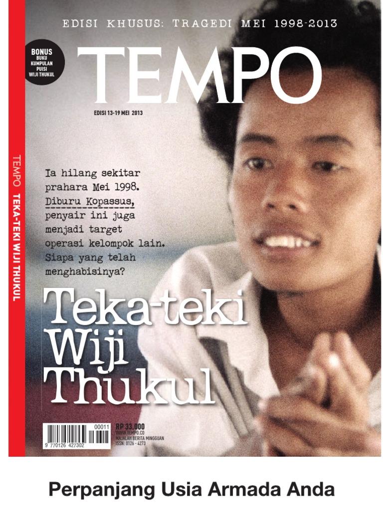 Tempo Edisi Khusus Wiji Thukul Kumpulan Puisi Para Jenderal Marah Marah