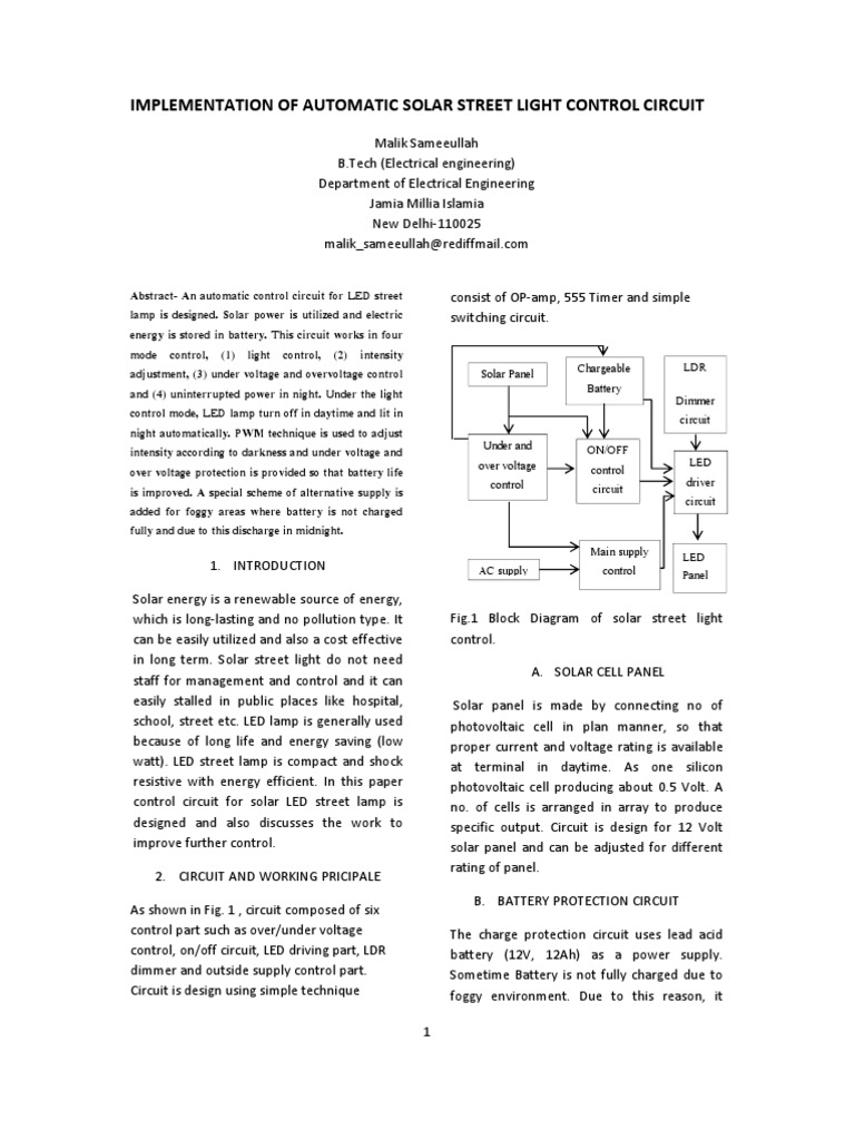 Implementation Of Automatic Solar Street Light Control Circuit Voltage Divider Calculator For Ldr Amplifier Operational