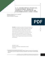 Pulido, H. Violencia y asimetrias étnicas. Multiculturalismo, debate antropológico y etnicidad de los afrocolombianos (1980-1990).