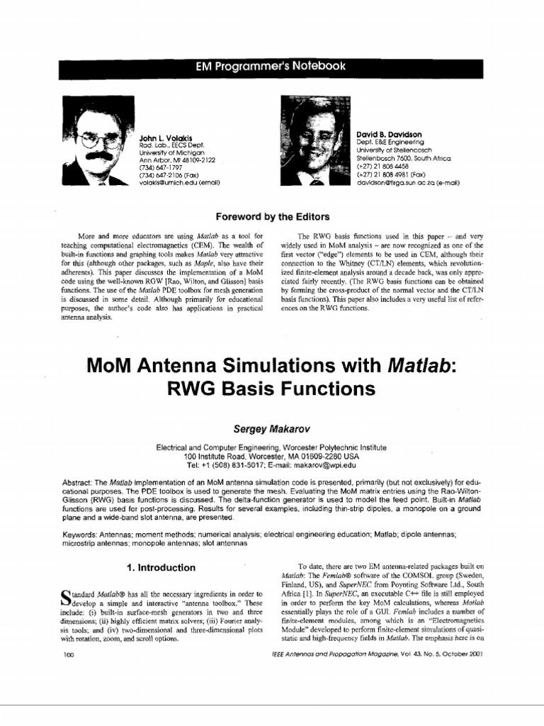 Monopole Antenna Design Using Matlab Code