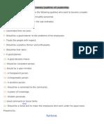 Twenty Qualities of Leadership