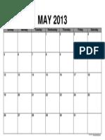 Calendar May 2013