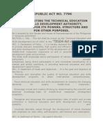 RA 7796-TESDA Act of 1994