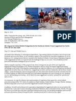 Public Comments Support of Critical Habitat Designation for the Northwest Atlantic Ocean Loggerhead Sea Turtle - FWS–R4–ES–2012–0103