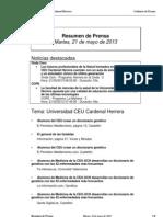 Resumen Prensa CEU-UCH 21-05-2013