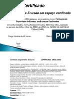 certificado treinamento espaço confinado