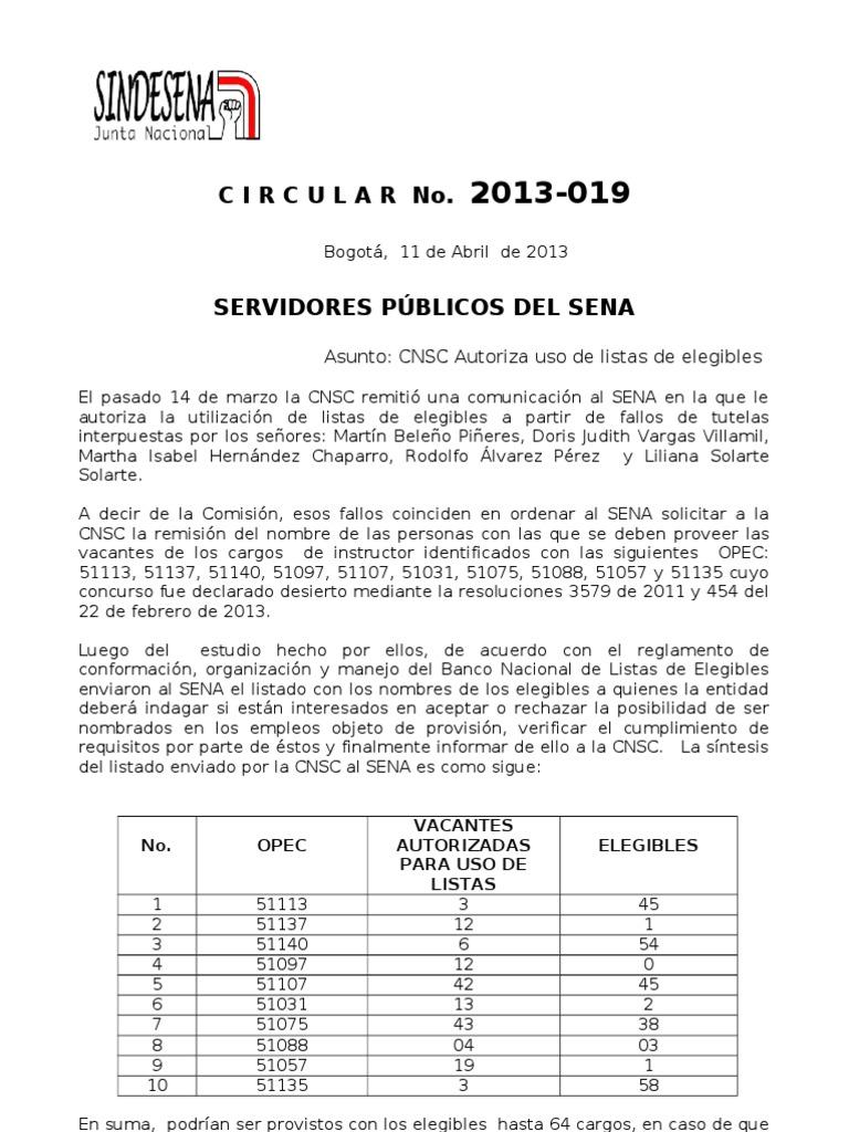 01 CIRCULAR 2013 019-CNSC AUTORIZ+ô USO DE LISTA DE ELEGIB ...