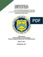 TIGTA oral testimony at Senate Finance hearing on IRS targeting, May 21, 2013