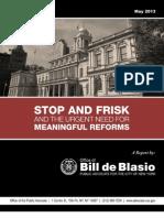 De Blasio Stop Frisk Reform