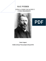 Weber La Politica Como Vocacion y Como Profesion 1919