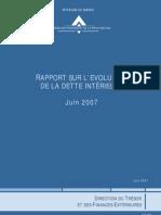 Evolution de la dette intérieure_DTFE_Juin 2007