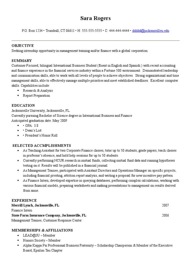 Sample Resume   International Business  Business Skills Resume