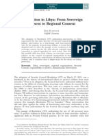 Intervention in Libya From Sovereign Consent to Regional Consent