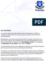 Everton FC 2009 Shareholder Forum Notice