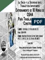 Entrenamiento de 10 Horas de OSHA para los Trabajadores de la Construccion