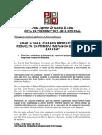 NOTA DE PRENSA Nº 057 - 2013