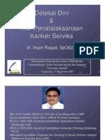 Deteksi Dini Dan Alur Penatalaksanaan Kanker Serviks, Tangerang 17 November 2007